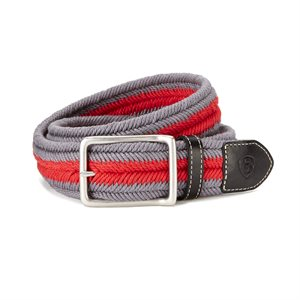 BELT ARIAT 2 COLORS SQUARE BUCKLE GREY /  RED
