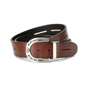 ARIATEVERSIBLE BELT BLACK AND BROWN HORSESHOE XS