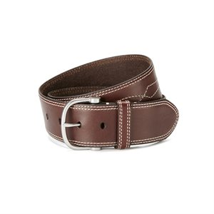 ARIAT BROWN LEATHER BELT WITH WHITE SEWING