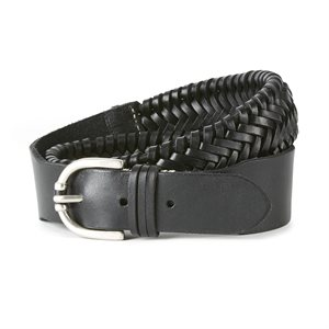 LEATHER EXTENSIBLE BRAIDED ARIAT BELT BLACK XSMALL