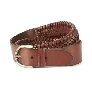 ARIAT EXTENSIBLE BRAIDED LEATHER BELT BROWN SMALL