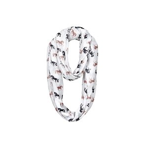 INFINITY SCARF WITH BLACK AND TAUPE HORSES