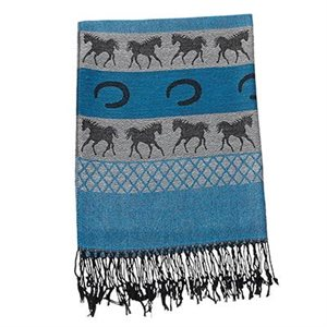BLACK, GREY AND AQUA SCARF WITH HORSESHOES AND HORSES