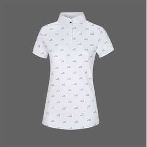 EQUILINE PLUM WHITE COMPETITION SHIRT WITH NAVY HORSES